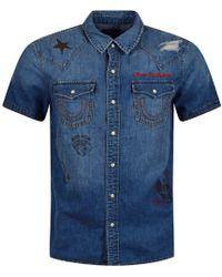 True Religion - Denim Distressed All Over Logo Short Sleeve Shirt - Lyst