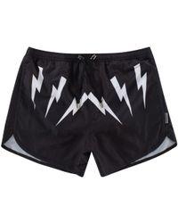 Neil Barrett - Black/white Swim Shorts - Lyst