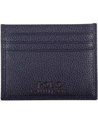 Polo Ralph Lauren - Navy Grained Leather Card Holder - Lyst