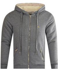True Religion - Grey Fleece Hooded Jacket - Lyst