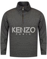 KENZO - Grey Ribbed Funnel Collar Sweatshirt - Lyst