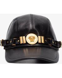 Versace   Black Medusa Medallion Leather Cap   Lyst