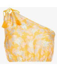 A Peace Treaty - Yuna One-shoulder Print Silk Linen-blend Top - Lyst