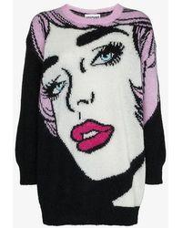 Moschino - Oversized Pop Art Intarsia Mohair Virgin Wool Blend Jumper - Lyst