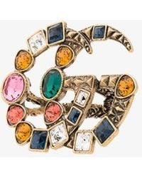 Gucci - Gg Crystal Embellished Ring - Lyst