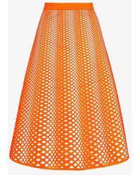 Paskal - Eyelet Detail Midi Skirt - Lyst
