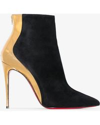 ef271a6bf13e1 Christian Louboutin - Black And Gold Metallic Delicotte 100 Suede Leather  Boots - Lyst