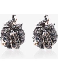 Bibi Van Der Velden - 18k Rose Gold, Silver And Diamond Animal Stud Earrings - Lyst