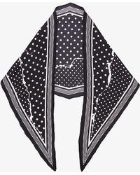 Haider Ackermann - Black Polka Dot Ripped Effect Silk Scarf - Lyst