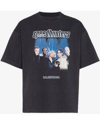 Balenciaga - Speedhunter Logo-print Cotton-jersey T-shirt - Lyst