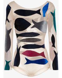 Alexia Hentsch - Fish Applique Round Neck Bodysuit - Lyst