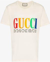6604bbca2 Gucci Distressed Glittered Cotton-jersey T-shirt in White for Men - Lyst