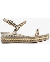 bce16191bf2b Christian Louboutin - Metallic Pyraclou 60 Stud Embellished Leather Wedge  Sandals - Lyst
