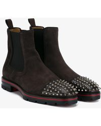 Christian Louboutin - Melon Spike-embellished Suede Chelsea Boots - Lyst