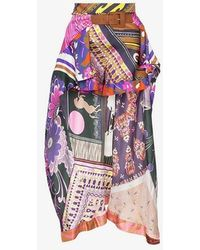 Chloé - Floral Print Scarf Detail Silk Shorts - Lyst