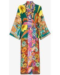 Rianna + Nina - Multicoloured Mixed Hibiscus Print Silk Kimono Robe - Lyst
