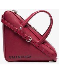 Balenciaga - Burgundy Red Triangle Duffle Small Leather Bag - Lyst