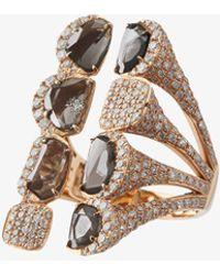 Saqqara - 18kt Rose Gold Sliced Diamond Long Ring - Lyst