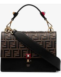 c14f3e71679e Fendi - Black And Brown Kan I Shoulder Bag - Lyst