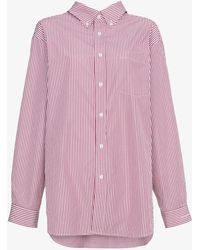 Balenciaga | Longsleeved Button Down Striped Shirt | Lyst