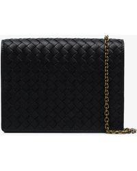 Bottega Veneta - Black Intrecciato Leather Wallet On A Chain - Lyst