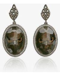 Sevan Biçakci - 18k Yellow Gold Owl Face Intaglio Moonstone Diamond Drop Earrings - Lyst