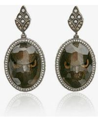 Sevan Biçakci - Owl Face Intaglio Moonstone Diamond Drop Earrings - Lyst