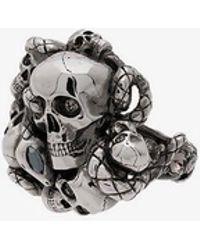 Alexander McQueen - Chunky Skull And Snake Ring - Lyst
