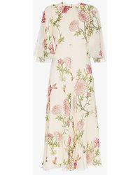 Giambattista Valli - Silk Wide Sleeve Floral Midi Dress - Lyst
