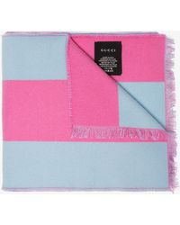 Gucci - Pink Stripe Guccy Embroidered Wool Silk-blend Scarf - Lyst