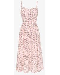 Maryam Nassir Zadeh - Silk Lip Print Bustier Midi Dress - Lyst