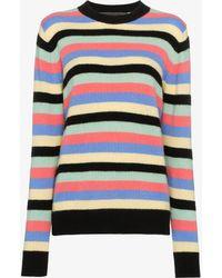 The Elder Statesman - Multicolour Stripe Round Neck Cashmere Sweater - Lyst