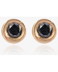 Bullet tube and diamond stud earrings - Black Jelena Behrend aMmj6M9g7