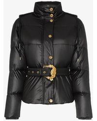 Versace - Hooded Belted Feather Down Puffer Jacket - Lyst