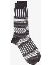 Ayamé - Grey And White Lunch Patterned Socks - Lyst
