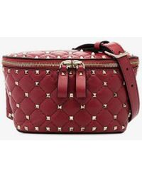 Valentino - Red Rockstud Small Spike Leather Belt Bag - Lyst