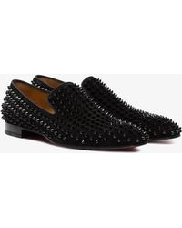 Christian Louboutin - Black Dandelion Spikes Suede Leather Loafers - Lyst