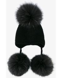 Inverni - Raccoon Fur Pom Pom Beanie - Lyst