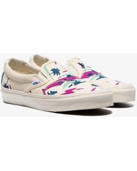 d9dc656fa5 Vans - Ivory Palm Bricolage Slip-on Low-top Canvas Sneakers - Lyst