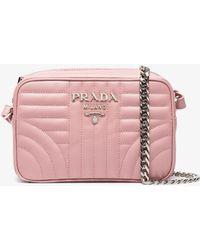Prada - Pink Diagramme Leather Cross Body Bag - Lyst