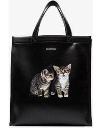 Balenciaga - Black Cat Leather Tote - Lyst