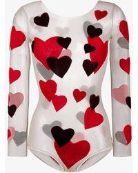 Alexia Hentsch - Silk Heart Applique Bodysuit - Lyst