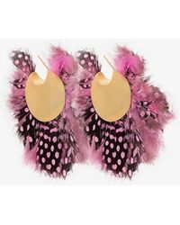 Katerina Makriyianni - Pink, Black And White Feather Silver Hoop Earrings - Lyst