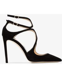 Jimmy Choo - Black Lancer Suede Pointed Toe Leather Strappy Pumps - Lyst