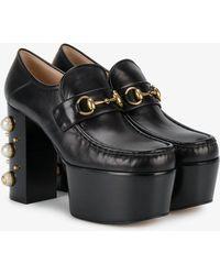 Gucci - Studded Heel Horsebit Platform Loafers - Lyst