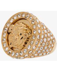 Versace - Embellished Crystal Medusa Ring - Lyst
