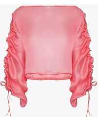 Molly Goddard - Ruched Sleeve Sheer Top - Lyst