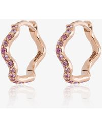 Sabine G - Yellow Gold And Sapphire Wave Huggie Hoops - Lyst