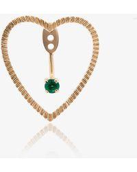 Yvonne Léon - Gold Puce Coeur Et Dessous Emerald Earring - Lyst