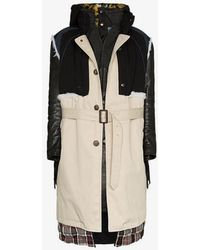 Balenciaga - Layered Belted Leather And Calf Hair Parka Coat - Lyst